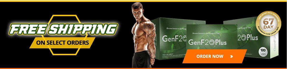 Muscular man standing next to GenF20 Plus packages