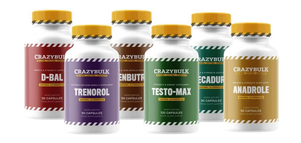 CrazyBulk supplement bottles on white background