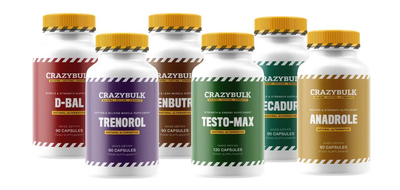CrazyBulk supplement bottles on white background
