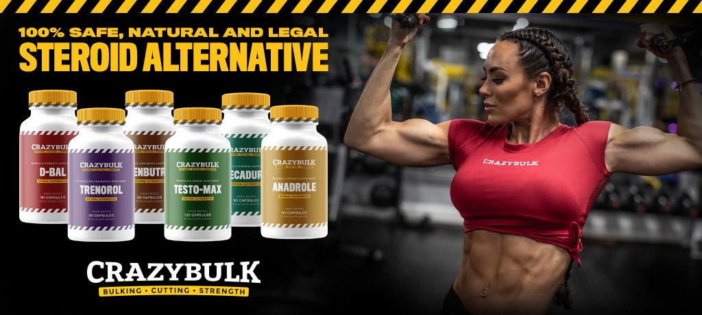 Female bodybuilder posing with CrazyBulk products